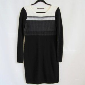 Ivanka Trump Black White Striped Sweater Dress szM